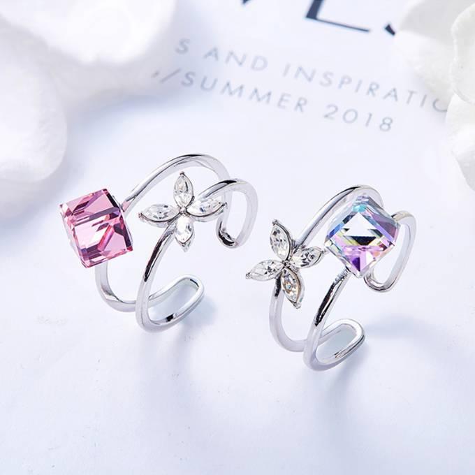 指輪のサイズ選びに困ったら リング 指輪 スワロフスキー キューブ フラワー Aurora&Oasis オーロラ&オアシス